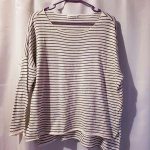 Zara knit black white stripe light weight sweater